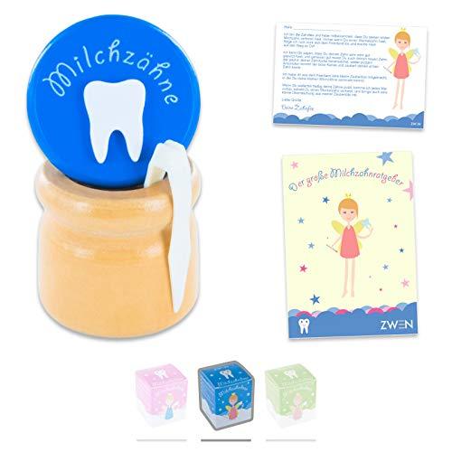 ZWEN MILCHZAHNDOSE Holz Schraubverschluss, Pinzette & Zahnfee-Brief + E-BOOK I Milchzahnbox für Mädchen & Jungen (Blau)
