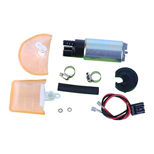 MUCO New 1pc High Performance Electric Gas Intank EFI Fuel Pump With Strainer/Filter + Rubber Gasket/Hose + Stainless Steel Clamps + Universal Connector Wiring Harness & Necessary Installation Kit
