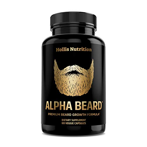 Alpha Beard Beard Growth Supplement | Biotin 10,000mcg, (Patented) OptiMSM, goMCT, Collagen | Beard Growth Vitamins for Men | for All Hair Types | Fuller, Thicker, Healthier Beard - 60 Capsules