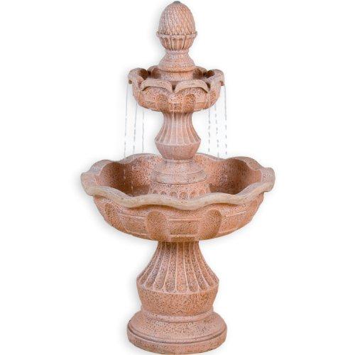 STILISTA® Gartenbrunnen Modell METIS Steinoptik 58 x 58 x 102 cm großer Springbrunnen inkl. Pumpe
