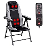 Giantex Folding Shiatsu Massage Chair with Heat, Back Neck Massager Chair Portable, 3D Deep Kneading Rollers, 3 Vibration Massage Adjustable, USB Port, Full Body Massage Chairs for Muscle Relief, Home