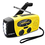 Esky Solar Weather Radios Hand Crank Self Powered Emergency FM/AM/NOAA Radio with LED Flashlight and 1000mAh Yellow