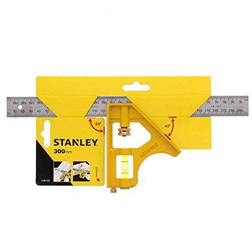 Stanley 2-46-143 Équerre à combinaison Die-Cast multi-usage 300 mm - fiole intégrée 360° - graduation en mm et pouces - lame anti-rouille