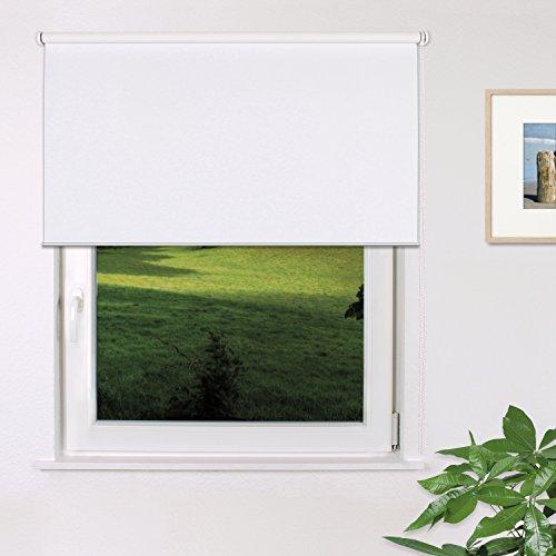 Fensterdecor Fertig Verdunkelungs-Rollo, Sonnenschutz-Rollo zum Abdunkeln von Räumen, Blickschutz-Rollo in Weiß, lichtundurchlässig und Blickdicht, 160 x 230 cm