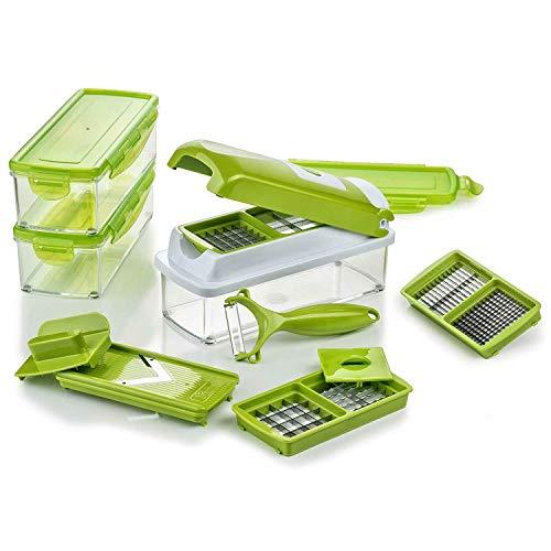 Genius Mandoline Nicer Dicer Smart 14en1 Multifunction Professionelle vert - Coupe-légumes avec Grilles de découpe + Poussoir, Rabot, Eplucheur | dés, bâtonnets, tranches, bandes