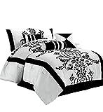 Chezmoi Collection Nobility 7-Piece White/Black Flocked Floral Comforter Set, Queen