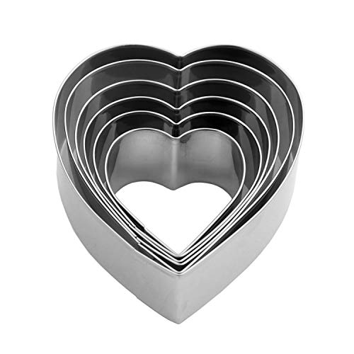 Heart Cookie Cutter Set - 6 Piece - 3 4/5', 3 1/5', 2 4/5', 2 3/5', 2 1/5', 1 4/5' - Heart Shaped Cookie Cutters, Stainless Steel Biscuit Pastry Cutters