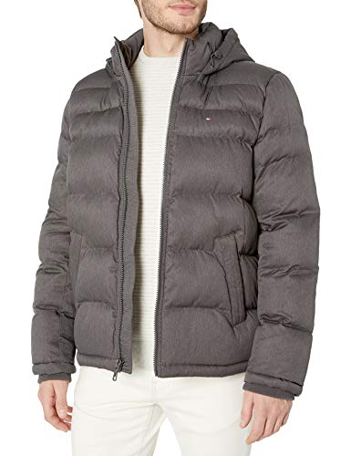 Tommy Hilfiger Men's Classic Hooded Puffer Jacket (Regular and Big & Tall Sizes), Heather Charcoal, M
