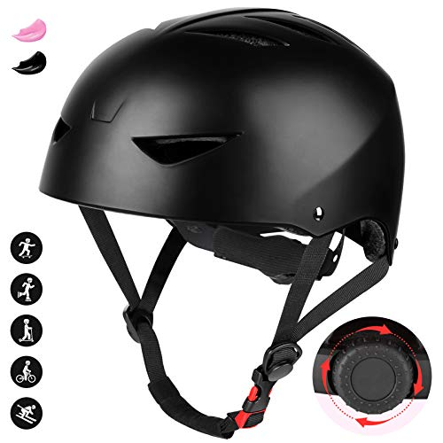 JIM\'S STORE BMX Helm Kinderhelm Fahrradhelm Skaterhelm Scooterhelm für Junge Kinder Erwachsene Übergröße Verstellbarer Kinngurt (Schwarz)