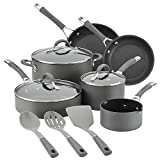 Circulon Radiance Hard Anodized Nonstick Cookware Pots and Pans Set, 12 Piece, Gray