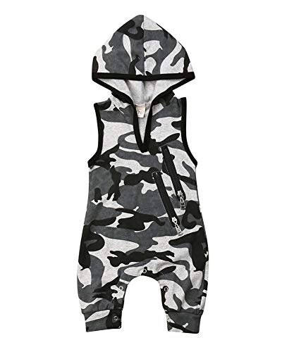 Sleeveless Newborn Baby Boys Girls Hooded Romper Green Jumpsuit Outfit Summer Zipper Casual Clothes (6-12 Months, Camo)