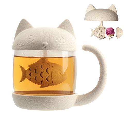 Cymax Tazza Gatto, 250 ml mug tazza da tè in vetro con infusore, perfetto regalo di compleanno di Natale per gli amanti dei gatti
