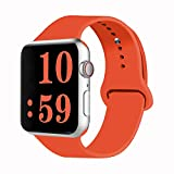 VATI Sport Band Compatible for Apple Watch Band 38mm 40mm, Soft Silicone Sport Strap Replacement Bands Compatible with 2019 Apple Watch Series 5, iWatch 4/3/2/1, 38MM 40MM M/L (Orange)