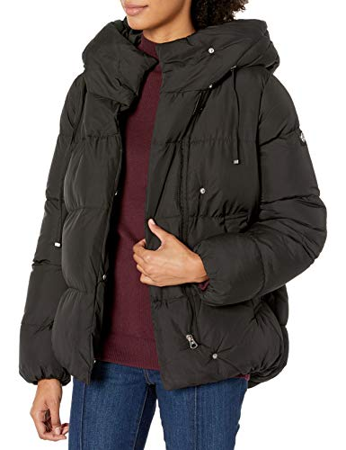 Jessica Simpson Women's Puffer Jacket, Hooded Black, XL