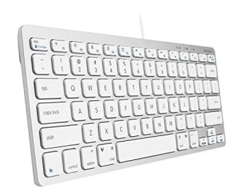 Macally Slim USB Wired Small Compact Mini Computer Keyboard for Apple Mac, iMac, MacBook Pro/Air, Mac Mini, Windows PC Desktops, Laptop (Aluminum Silver)