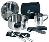 Laken - Kit de cuisine en acier inoxydable - Kit de camping - Avec housse...