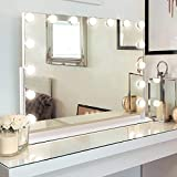 M MISAVANITY Large Vanity Makeup Mirror with Lights,Hollywood Lighted Up Mirror with 10X Magnification and USB Charging 15 Dimmable LED Lights for Dressing Room Bedroom Tabletop 360 Degree Rotating