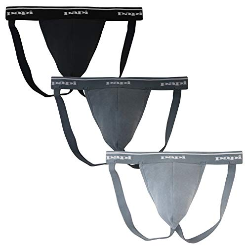 Papi Men's 3-Pack Premium Performance Cotton Jock Strap, Black/Charcoal, Large
