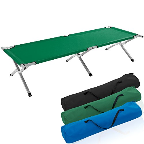 TRESKO XXL Campingbett Feldbett 190 x 64 x 44 cm Metallrohr - Belastbarkeit bis 150kg - in verschiedenen Farben (Grün)