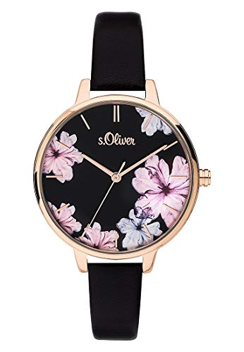 s.Oliver Damen Analog Quarz Uhr mit Leder Armband SO-3779-LQ