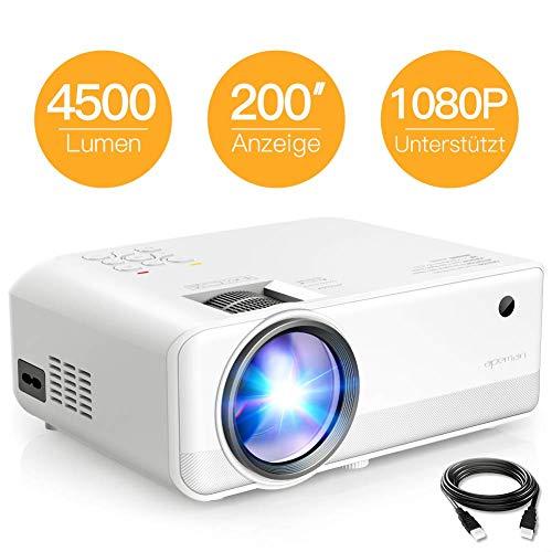 Beamer APEMAN Mini Beamer 4500 Lumen 1080P Full HD Unterstützt Handybeamer Projektor LED 50000 Stunden HDMI*2/TF/USB Heimkino Fußball Spiel Spaß am Erkunden Leitfaden Video auf YouTube