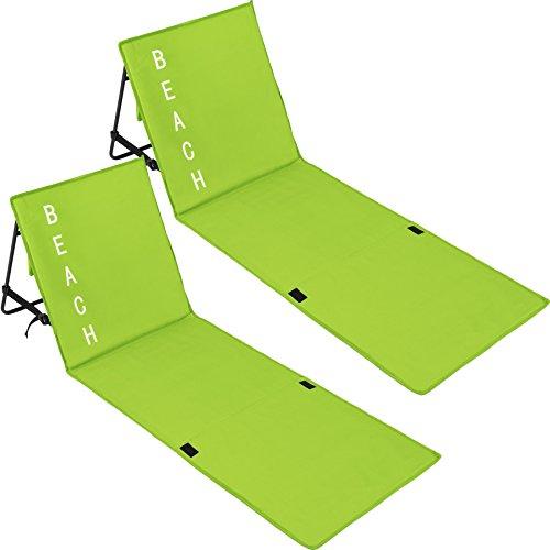 TecTake 800584 2er Set Gepolsterte Strandmatte mit Verstellbarer Rückenlehne und praktischem Tragegurt - Diverse Farben - (Grün   Nr. 402988)