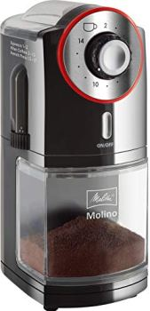 Melitta Molino, Noir/Rouge, 1019-01, Moulin à Café Électrique, Broyeur à Meule Plate