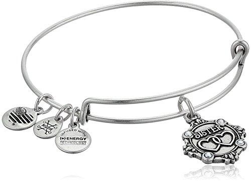 Alex and Ani Womens Because I Love You, Sister Charm Bangle Bracelet, Rafaelian Silver, Expandable