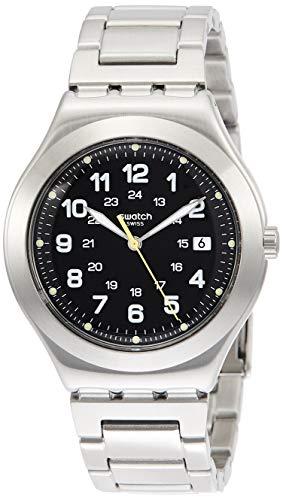 Swatch Herren Analog Quarz Uhr mit Edelstahl Armband YWS439G