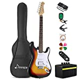 Donner DST-1S Solid Full-Size 39 Inch Electric Guitar Kit Sunset Yellow, with Amplifier, Bag, Capo, Strap, String, Tuner, Cable, Picks