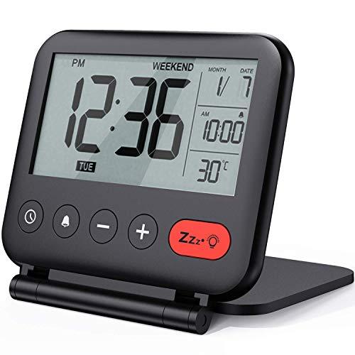 NOKLEAD Réveil de Voyage Mini Horloge Numérique LCD Portable avec...