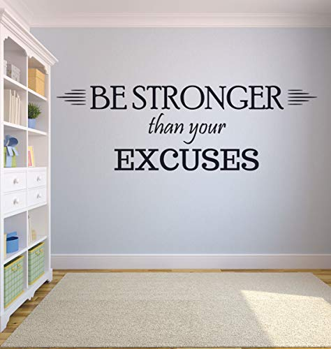 Be Stronger Than Your Excuses Workout Success Motivation Quote Wall Decal Fitness Healthy Determination Girls/Boys Sports Gym Home Living Room Decor Vinyl Wall Art Sticker Decoration Size (30x24 inch)