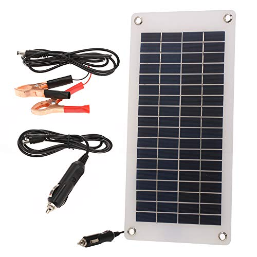8.5W/12V Solar Car Battery Charger Maintainer with Cigarette Lighter Semi-Flexible Portable Solar Power Panel Trickle Charging for RV Motorcycle Boat Marine Trailer Tractor Powersports