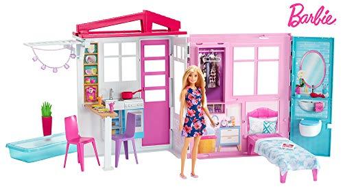 Barbie FXG55 Loft con Bambola, Casa a 1 Piano, Portatile con Piscina e Accessori, Giocattolo per Bambine da 3 + Anni, Imballaggio Standard
