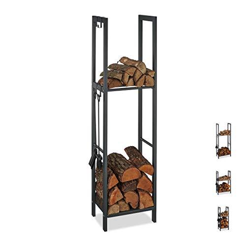 Relaxdays, anthrazit Kaminholzregal mit 2 Ablagen, aus Stahl, 4 Haken für Kaminbesteck, Brennholzregal HBT 150x40x30 cm, 150 x 40 x 30 cm