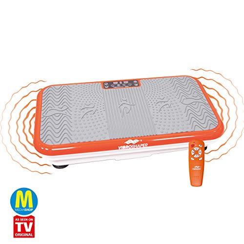 Mediashop VibroShaper, Vibrationsplatte, Ganzkörper Training | 3 Stufen, 99 Geschwindigkeiten, Fernbedienung, Trainingsbänder, Ernährungsplan, Übungsplan | Das Original aus dem TV (orange)