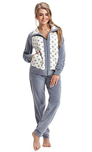 LEVERIE Tuta da Ginnastica Donna a Due Pezzi Giacca e Pantaloni in Cotone,Grigio/Bianco, XL