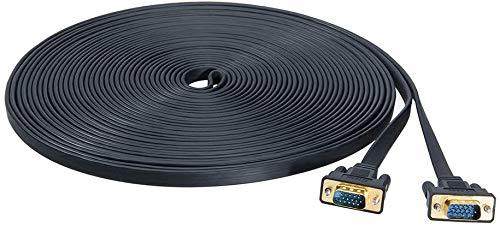 DTECH - Cavo VGA piatto ultra sottile standard 15 pin maschio a maschio SVGA 20 m