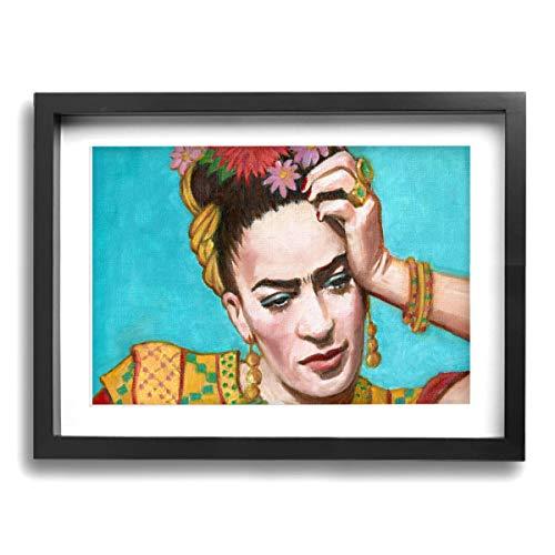 Pintura C Frida Kahlo Mexicana Folk Wall Art Paintings Paisaje Canvas Prints Framed Ready To Hang For Home Decorations 40,6 x 30,5 cm, Madera, Negro, Talla única