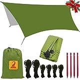 Bâche Tente Anti Pluie - Rain Fly Imperméable 3 x 3.5 m Abri de Randonnée Tapis,étanche coupe-vent anti-neige Camping Abri, portable, léger Basha Pare-soleil pour Snow Camping en plein air Voyage,Vert