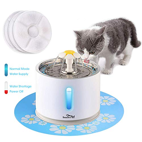 Beacon Pet Cat Water Fountain Stainless Steel, 2.4L Automatic Pet Fountain Upgrade Pump Replacement Water Dog Dispenser with 3 Replacement Filters & 1 Silicone Mat for Cats Dogs Multiple Pets