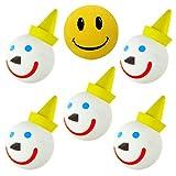 Tenna Tops Jack Original Car Antenna Ball/Antenna Topper/Mirror Dangler/Desktop Spring Stand (Pack of 5) + Original Happy Face Antenna Ball