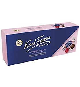 A coating of Fazer Milk Chocolate conceals a delicious raspberry yoghurt filling. 1 Box 270g (9.52oz)