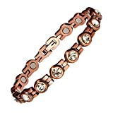 Copper Bracelet for Women Crystal Magnetic Bracelet Pain Relief for Arthritis and Carpal Tunnel Migraines Tennis Elbow