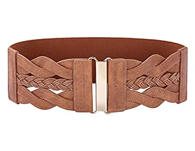 High stretchy; golden hook buckle fastening; easy to wear and remove Braided leatherette, elastic Belt shapes your waist and shows your elegant body fighure Chic and classy retro belt, a go to pick for your formal or casual wear, any other occasions,...