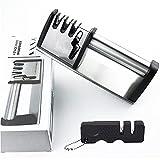 SHENGKINRAI 4 en 1 Aiguiseur Couteaux Professionnel, avec Base Antidérapante Manuel Eguiseur de Couteau, pour Ciseaux et Ciseaux et Couteaux de Cuisine de...