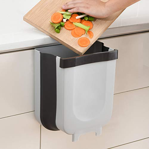 SUBEKYU Small Hanging Kitchen Trash Can, Collapsible Mini Garbage...