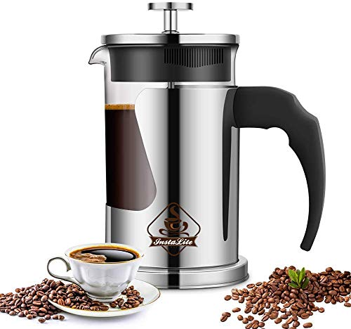 Instalite French Press Coffee Maker (600 ml) with 4 Level Filtration System - 304 Grade Stainless...