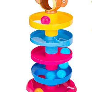Monkey ball drop toy for kids | 5 layer tower run with swirling ramps for kids