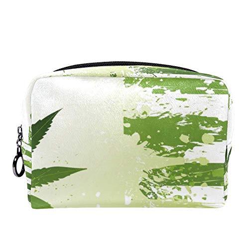 TIZORAX Grunge hojas de cáñamo marihuana bolsa de maquillaje neceser para las mujeres cuidado de la piel cosmético práctico bolsa cremallera bolso